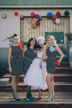 Rockabilly wedding bridal party