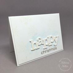 Mel's Card Corner | Happy White Card - stacked die-cuts - Christmas