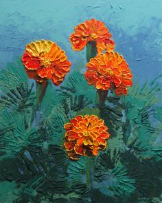 "This is today's fun experiment! It's called ""Marigolds-n-the Mist"", a 16"" x 20"" acrylic and modeling paste on Art Board. This is another one of those new style 3-D paintings, done entirely with a palette knife and a big old vet syringe. It has at the least a quarter of an inch raised texture on it!"