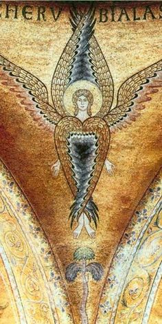 Medieval Byzantine mosaic 14th, seraph from the spandrels of the atrium, Church S.Marco, Basilica, Venice, Italy