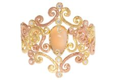 """Pamela Froman ~ Gorgeous tiara-inspired Palladium and Diamond """"Ice Princess Arabesque Cuff"""" featuring an adularescent Rainbow Moonstone center stone with pink and yellow gold."""