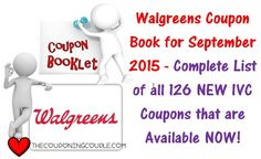***NEW WALGREENS IVC SEPTEMBER COUPON BOOK ~ 126 NEW WALGREENS COUPONS***  Click the link Below to get a DETAILED LIST of all 126 NEW COUPONS ► http://www.thecouponingcouple.com/walgreens-coupon-book-for-september-2015-complete-list-of-ivc-coupons/  Visit us at http://www.thecouponingcouple.com for more great posts!
