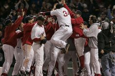 Red Sox win the 2004 ALCS against the Yankees.