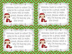 Elf on the Shelf - FREEBIE!  Attach a peppermint as an incentive for good behavior.