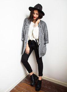 Oasap Hat, Thrifted Vest, H&M Sweater, Zara Jeans, Vagabond Shoes