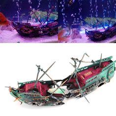 Large Aquarium Decorations Ship Air Split Shipwreck Fish Tank Decor Sunk Wreck Boat for Fish Tank Decoration Big Fish Tanks, Betta Fish Tank, Aquarium Fish Tank, Aquarium Ornaments, Aquarium Decorations, Spongebob Fish Tank, Aquarium Filter, Double Deck, Baby Animals