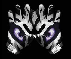 New LSU Football Gloves Nike Pro Combat 2011