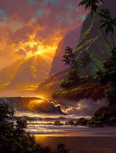 """""""Spill of the Evening Light"""" by Hawaii seascape artist, Roy Tabora. Beautiful Sunset, Beautiful World, Beautiful Places, Beautiful Gorgeous, Snow Photography, Landscape Photography, Amazing Photography, Pretty Pictures, Cool Photos"""