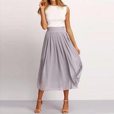 cebe01af91e0 Chiffon Zipper Waistline A Line Midi Pleated Casual Skirt   womensfashionforsummerwedding Νυφικά