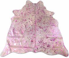 Pink Metallic Cowhide Rug Size: 6' X 5' Pink Metallic on Off-white Cow Rug J-053 #cowhidesusa #Contemporary