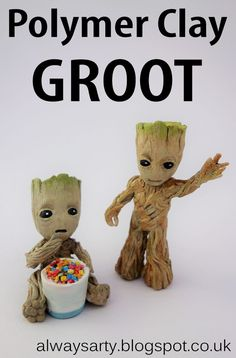 Baby Groot from Guardians of the Galaxy 2 made out of polymer clay - Always Arty