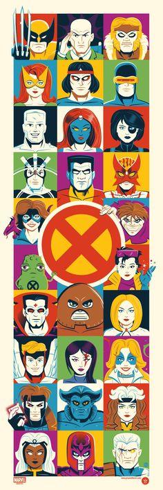 'X-Men' by Dave Perillo, a new officially licensed Marvel print from Grey Matter Art. Marvel Dc, Marvel Heroes, Marvel News, Comic Books Art, Comic Art, X-men Evolution, Arte Nerd, Man Wallpaper, Comic Covers