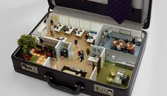 Mini office in a briefcase.