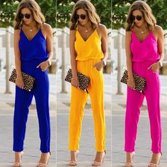 High Street Summer Vacation Fashion Casual Women Sexy Strap V Neck Solid Empire Slim Sleeveless Bodycon Jumpsuit Romper Trousers www.essish.com/