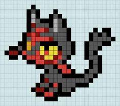 Litten Pattern by Prydri on DeviantArt Pixel Pokemon, Pokemon Chart, Melty Bead Patterns, Perler Patterns, Beading Patterns, Minecraft Beads, Minecraft Pixel Art, Pixel Pattern, Pattern Art