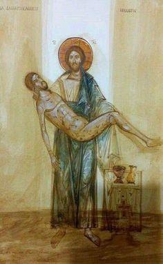 Christ as the Good Samaritan Religious Pictures, Religious Icons, Religious Art, Byzantine Icons, Byzantine Art, Roman Church, Spirited Art, Catholic Art, Orthodox Icons