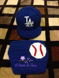 LA Dodgers Baseball Team Baby Crochet Hat Cap  Gotta love the game!