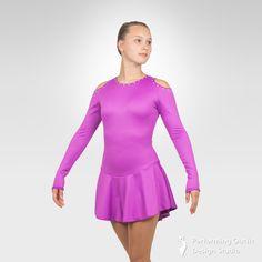 Jazzy figure skating long sleeve dress - Performing Outfit Design Studio Store Gymnastics Outfits, Gymnastics Leotards, Latin Ballroom Dresses, Ice Skating Dresses, Figure Skating, New Product, Skate, Cold Shoulder Dress, Aurora Borealis