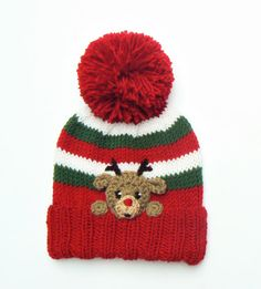 Knitting Patterns Hat Reindeer Hat for Kids, Knit Winter Pom Pom Hat with Reindeer Rudolph in front, Christmas Hat, Knitted Hats Kids, Knitting For Kids, Crochet For Kids, Baby Knitting, Beginner Knitting, Kids Winter Hats, Warm Winter Hats, Kids Hats, Christmas Hat