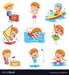 Of little girl on summer holid Royalty Free Vector Image Free Vector Images, Vector Free, Kids Lying, Kids Going To School, Paper Crafts Magazine, Japanese Kids, Kids Background, Cute Clipart, Speech Therapy