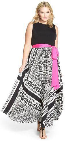Plus Size Scarf Print Maxi Dress