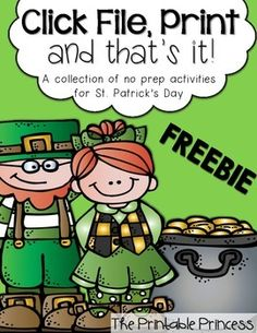 FREE Click File, St. Patrick's Day Printables for Kindergarten..  Print {and that's it!} This file contains activities that are ready-to-go for your little ones to practice their math, reading, and writing skills.  Skills include: number bonds, addition, subtraction, CVCE words, digraphs, sight words, and a writing page.