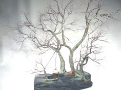 Copper wire tree - Bonsai style - Art sculpture - natural rock - recycled material - Wabi sabi - Penjing style - bucket and the well
