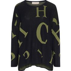 Isolde Roth Dark-Blue / Khaki-Green Plus Size Letter print jumper ($80) ❤ liked on Polyvore featuring tops, sweaters, plus size, khaki jumper, green sweater, womens plus tops, womens plus size tops and boxy sweater