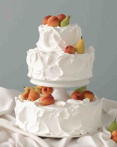 Three-Tiered White Wedding Cake with Marzipan Peaches and Pears