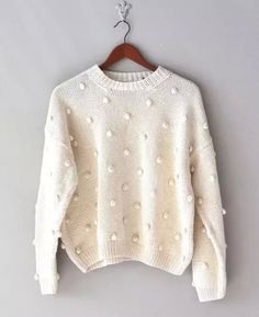 vintage cream slouchy sweater / oversized sweater / LOOK for these in thrift stores cable knot ones too. Sweater Weather, Looks Style, Style Me, Look Fashion, Womens Fashion, High Fashion, Slouchy Sweater, Pom Pom Sweater, Cream Sweater