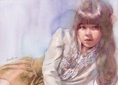 Risultati immagini per atsushi matsubayashi Painting People, Figure Painting, Figure Drawing, Painting & Drawing, Watercolor Artists, Watercolor Portraits, Watercolor Paintings, Watercolours, Colorful Drawings