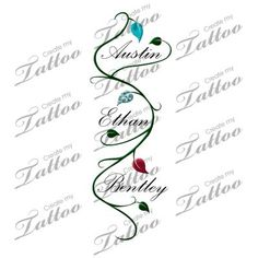 Children's Name with Vine Tattoo. Wish I wasn't so afraid of needles! I love this!: