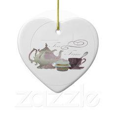 Tea Time Pink Cupcake Hearts Art Ornaments