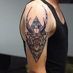Deer, geometric, arm tattoo on TattooChief.com