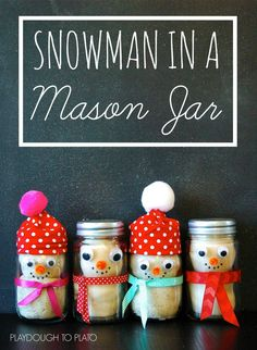 Snowman in a Jar. Adorable homemade Christmas gift for kids!