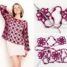 Fabulous Crochet a Little Black Crochet Dress Ideas. Georgeous Crochet a Little Black Crochet Dress Ideas. Crochet Shawl Diagram, Crochet Motifs, Freeform Crochet, Crochet Stitches, Crochet Patterns, Dress Patterns, Black Crochet Dress, Crochet Tunic, Crochet Clothes