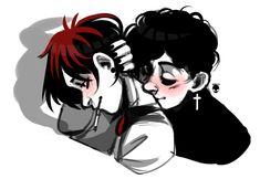 Michael x pete Gothkids South Park Anime, South Park Goth Kids, Style South Park, South Park Fanart, Michael X, Cute Emo Boys, Creek South Park, Park Art, Goth Art