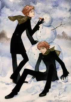 Beautiful!! Combining my two favorite things ;) Ouran High school Host Club and Christmas!!! Hikaru and Kaoru with a Snowman!!!! Christmas is coming!!!