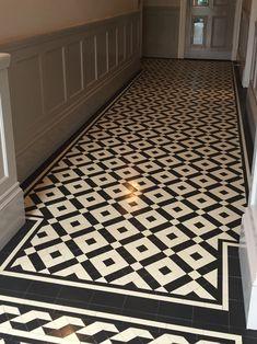 Victorian floor tiles and contemporary geometric ceramic tiles. Hall Tiles, Tiled Hallway, Victorian Terrace Hallway, Painted Bathroom Floors, Porch Interior, Porch Tile, Narrow Hallway Decorating, Hall Flooring, Hallway Inspiration