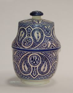Blue Moroccan Fes Pottery Design with Lid