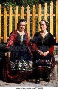 2 two Greek people person adults females women Festival of Paraskevi Metsovo Pindos Mountains Epirus region Greece Europe - Stock Image