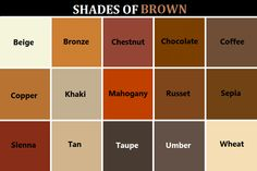 W R I T E O L D Shades Of Brown Color Names