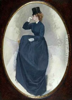 A Study Of A Lady In Riding Habit Mounted Side-saddle Oil Painting - Jean Maxime Claude