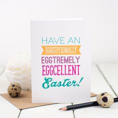 Easter Card Eggcellent Easter Card Funny Card (2.50 GBP) by bespokeverse