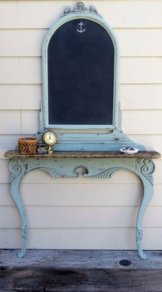 I turned an antique dresser harp upside down added a barn wood shelf & paired it with an old dresser mirror turned into a chalk board all prettied Refurbished Furniture, Paint Furniture, Repurposed Furniture, Furniture Projects, Furniture Makeover, Chair Makeover, Furniture Websites, Furniture Movers, Furniture Refinishing