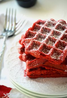 Red Velvet Waffles - these might need to happen for a special Valentine's Day breakfast!