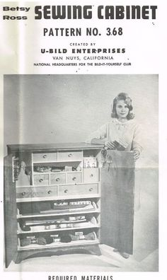 U Bild Woodworking Pattern Betsy Ross Sewing Cabinet No 368 1970's Vintage
