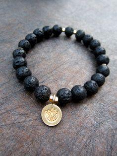 Lotus charm Bracelet / verneil nugget accents Lava rock by Muse411, $32.00