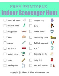 Need a fun boredum buster during school closure? Indoor scavenger hunts are a great activity for kids when they are stuck inside. It's a great way to burn off energy while hunting around the house for… Activity Games For Kids, Rainy Day Activities For Kids, Indoor Activities For Kids, Home Activities, Learning Activities, Mind Games For Kids, Scavenger Hunt For Kids, Scavenger Hunts, Kindergarten Scavenger Hunt