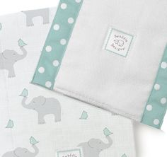 This combo package makes a perfect gift for mom-to-be       Two, yet different, swaddling blankets in a wonderful gift box:        The Ultimate Receiving Blanket is a ligthweight premium cotton flannel        The Marquisette Swaddling Blanket ia a lightweight open-weave cotton       The 2 Baby Burpies are soft absorbent double-layers and are 14 x 18.       All are in the adorable Elephant and Morning Sky Chickies design       Essentials and s